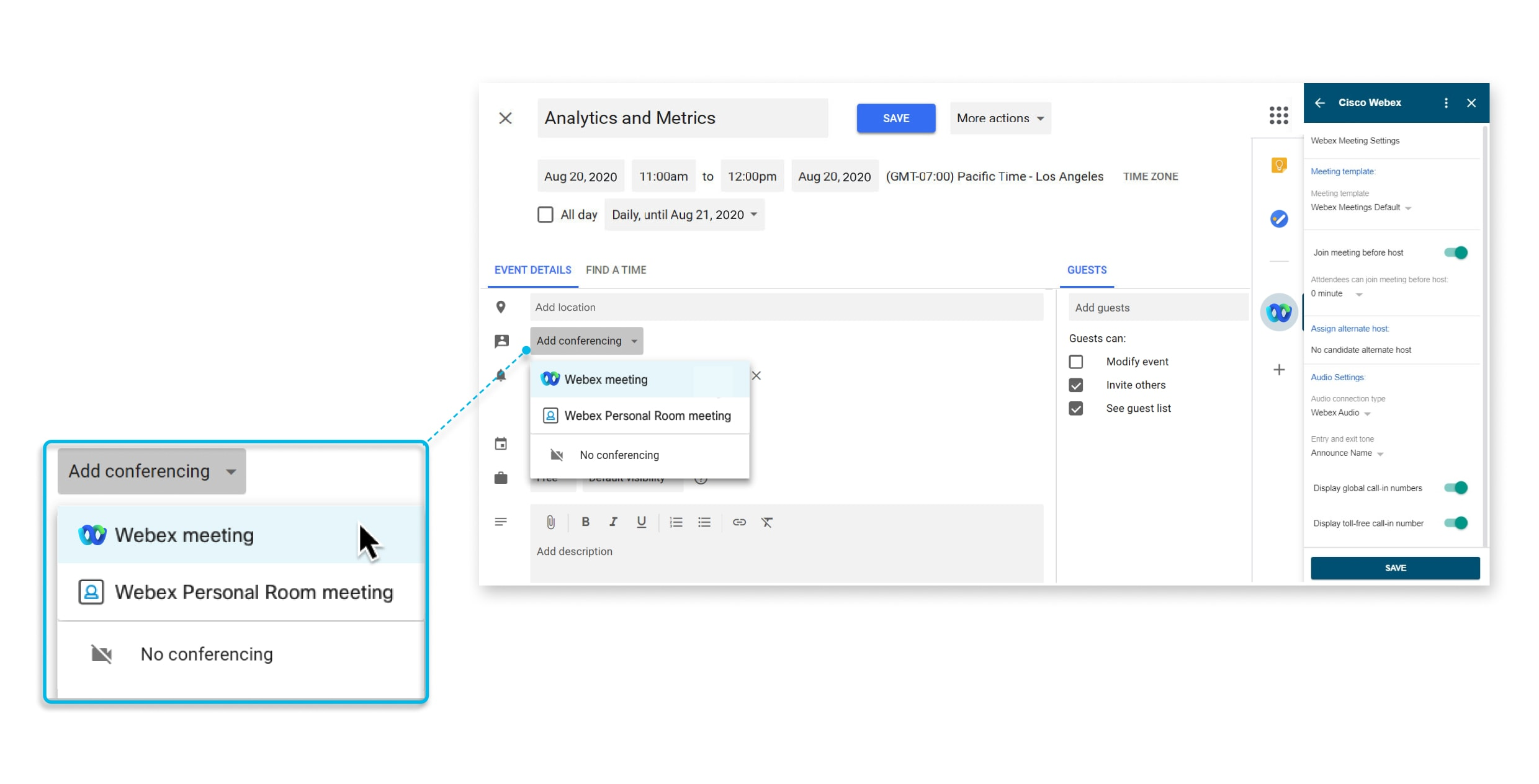 Schedule and Join Meetings with Cisco Webex for Google