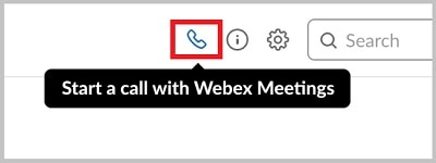 Select Start a call with Cisco Webex Meetings