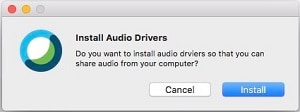 Install Audio Drivers message.
