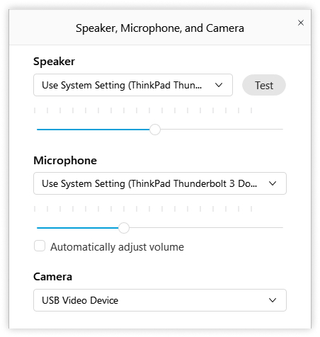 Speaker, microphone, and camera dialog box