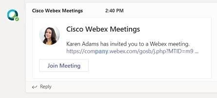 Cisco Webex Meetings for Microsoft Teams
