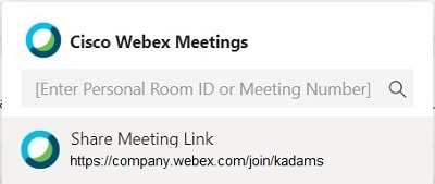 Enter Personal Room ID or Meeting Number