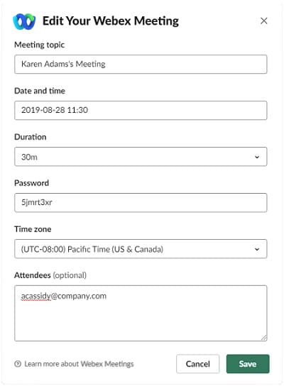 Edit Your Webex Meeting dialog box
