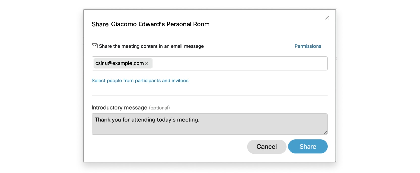 Select Add people in meeting invitation list