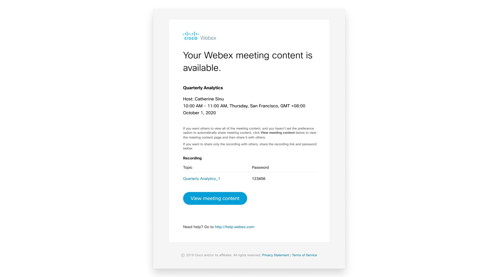 Your meeting content is available email
