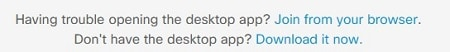 Webex prompt showing Having trouble opening the desktop app? Join from your browser.