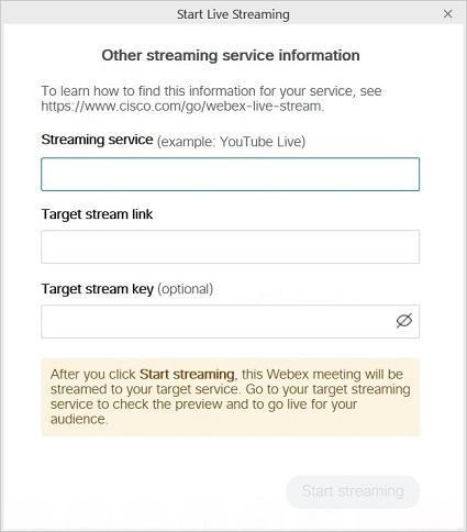 Other streaming service information dialog
