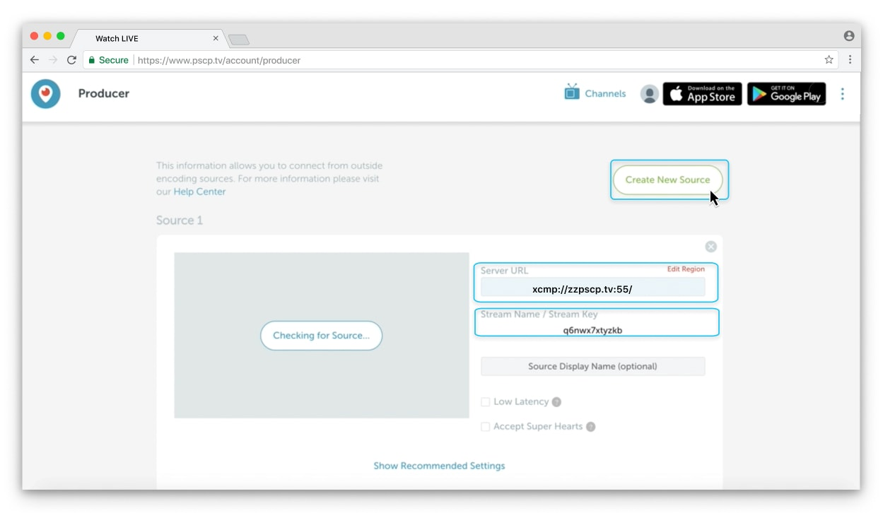 Create New Source button