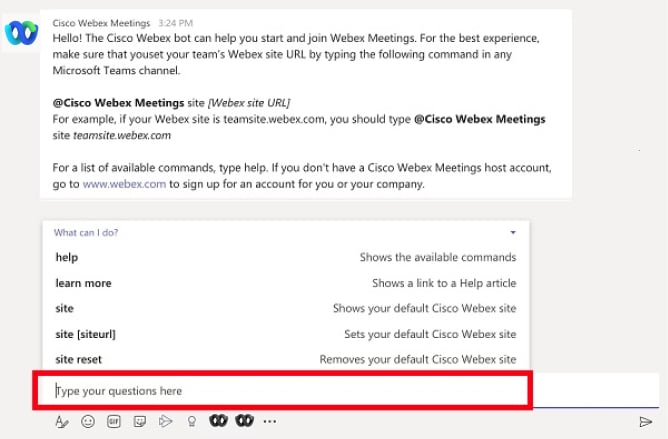 Chat privado con el bot Cisco Webex Meetings chat