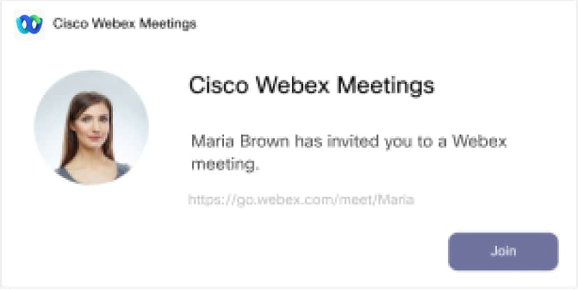 Webex Meeting card