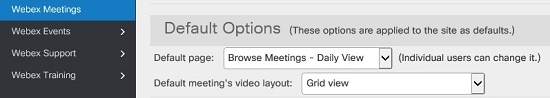 Default meeting's video layout setting