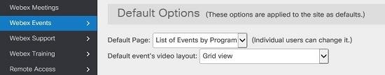 Configuración del diseño de vídeo del evento predeterminado