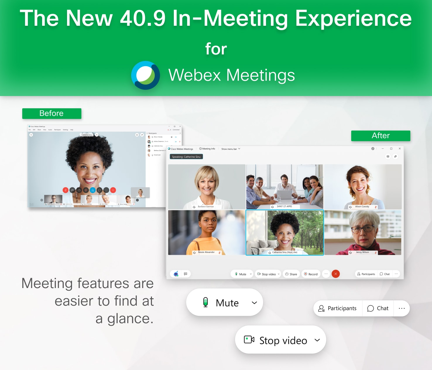 Meeting features are easier to find at a glance in 40.9.
