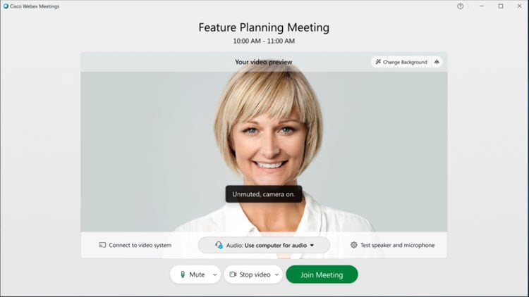 A preview window in the new Webex interface.