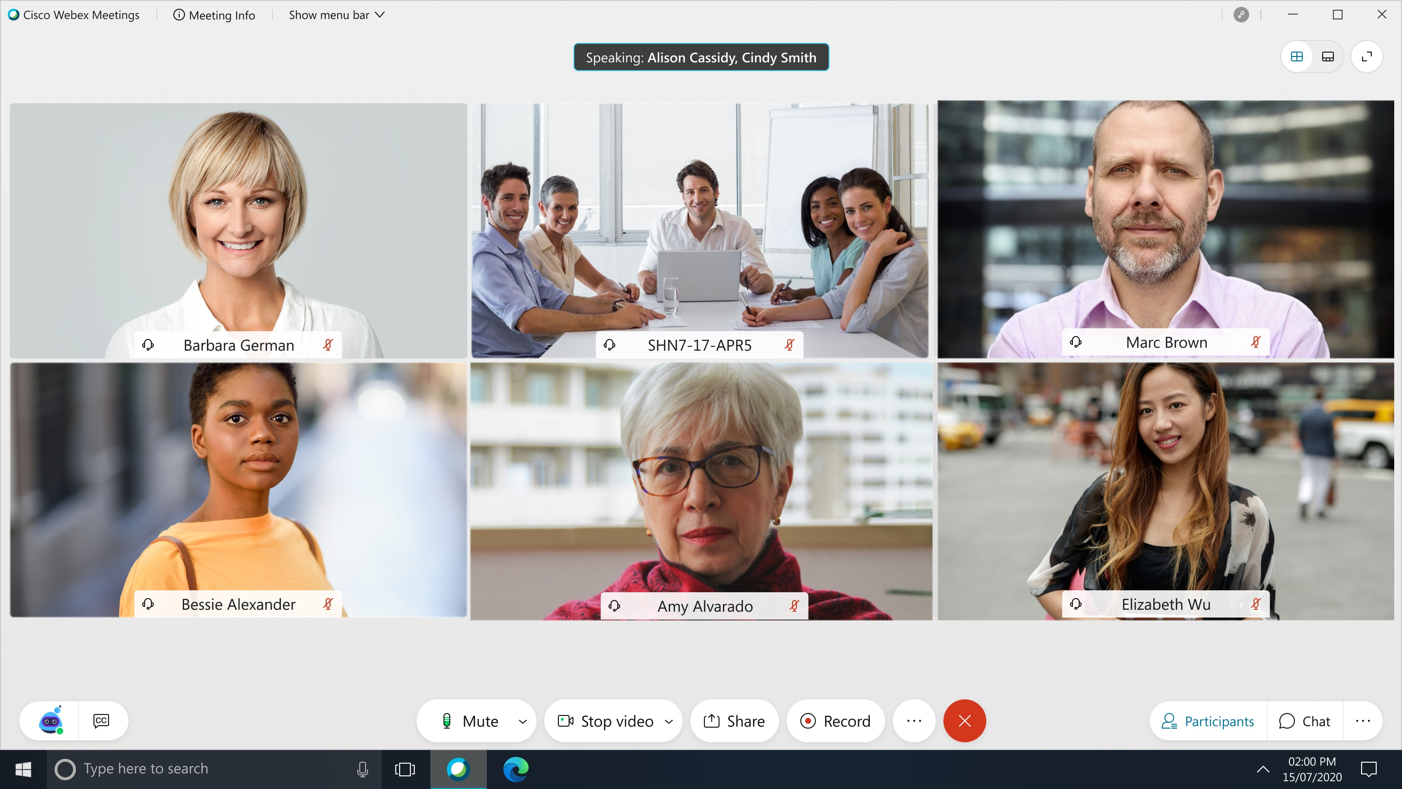 Updated Webex interface showing persistent buttons at the bottom of the screen.
