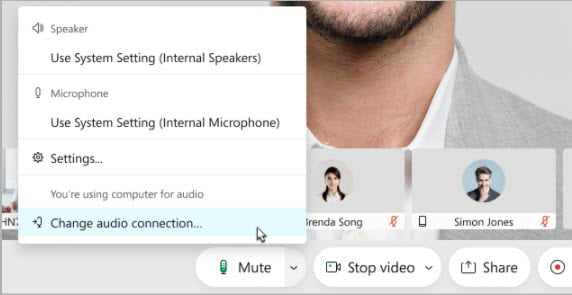 Audio settings displaying in a menu beside the Mute button.