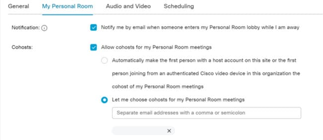 My Personal Room cohost settings.