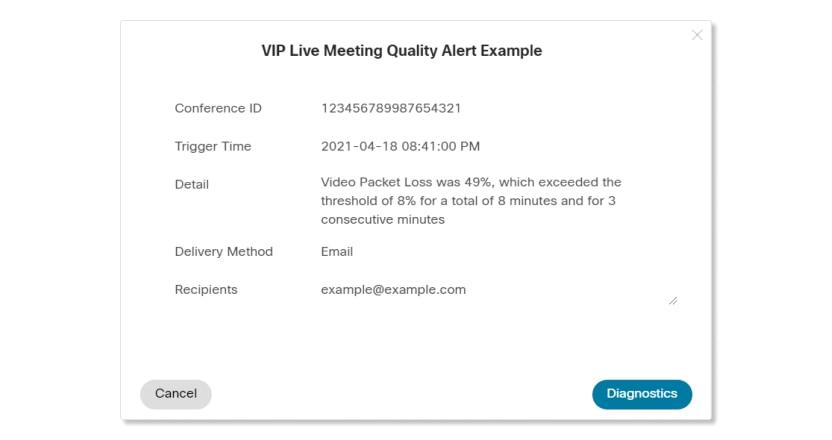 Waarschuwing over de kwaliteit van vip-live-vergadering