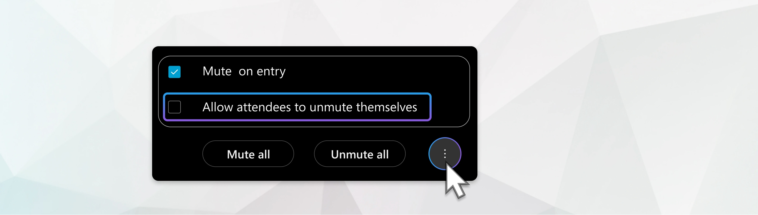 Allow attendees to unmute themselves menu option