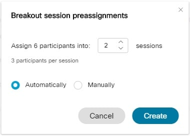 Breakout sessions preassignments dialog box