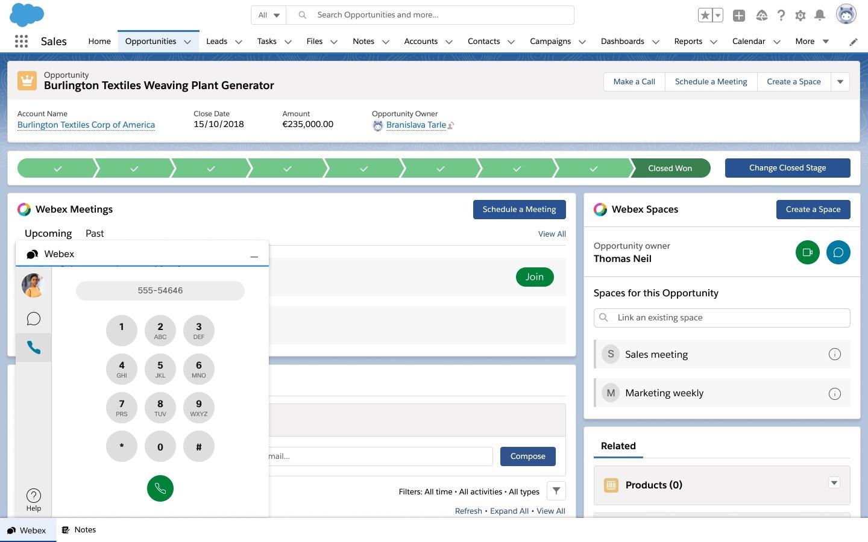 Tárcsázási pad a Salesforce lehetőség oldalának bal alsó részén.