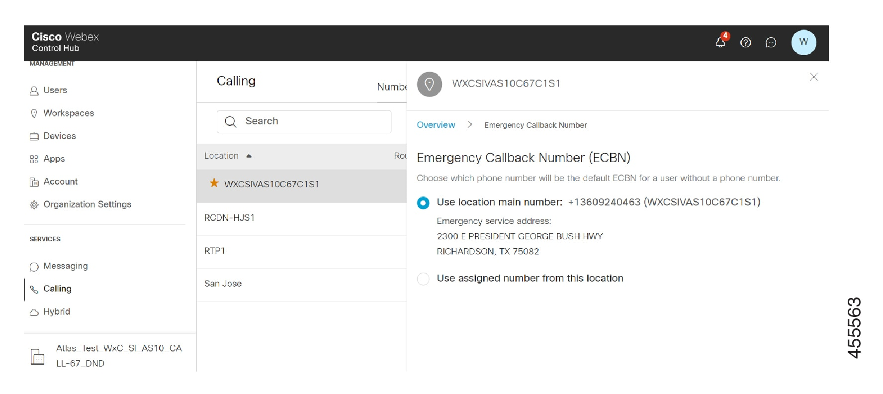 The Location screen for Emergency Callback Number configuration in Control Hub