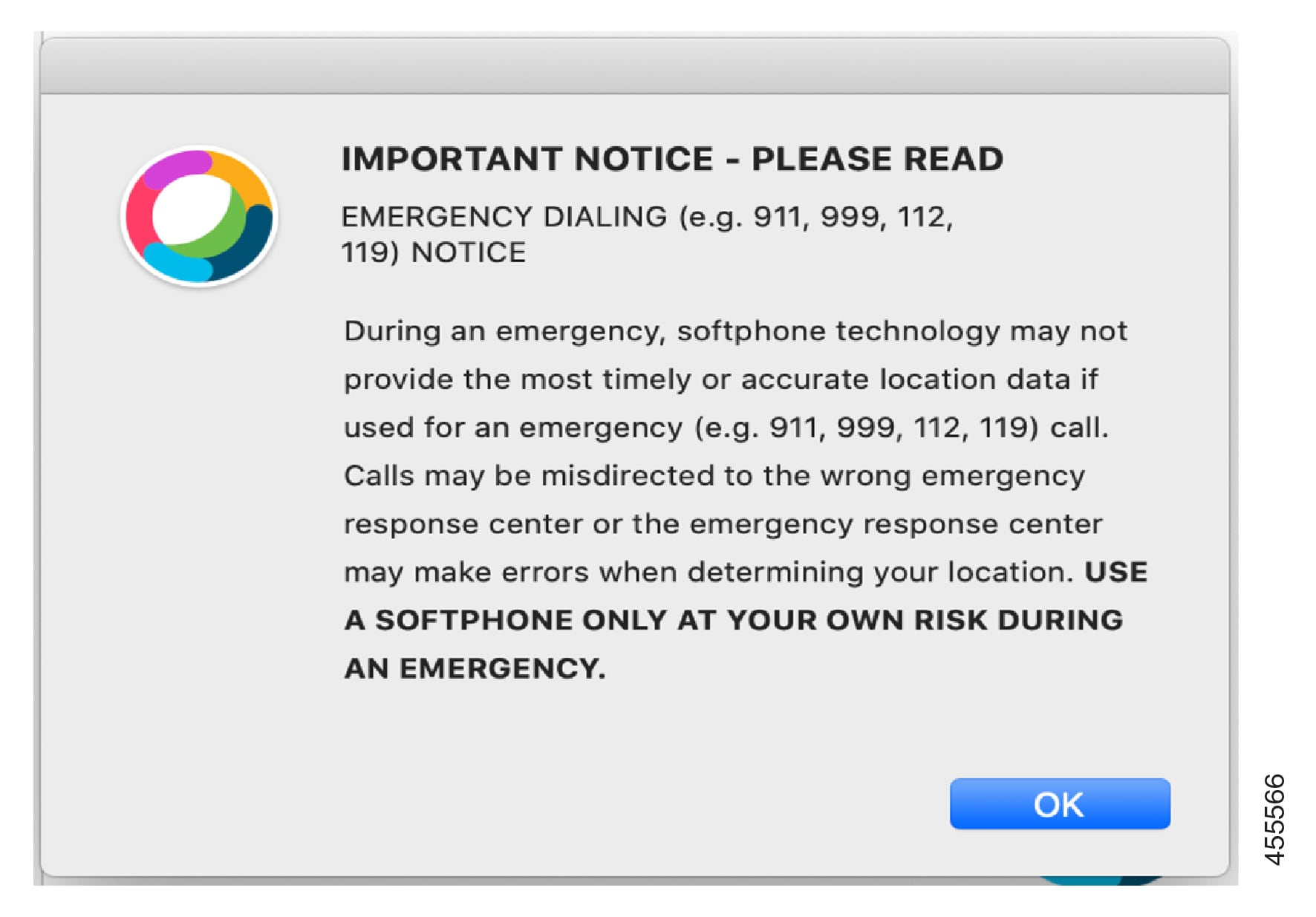ECBN Notification that displays for emergency dialing.