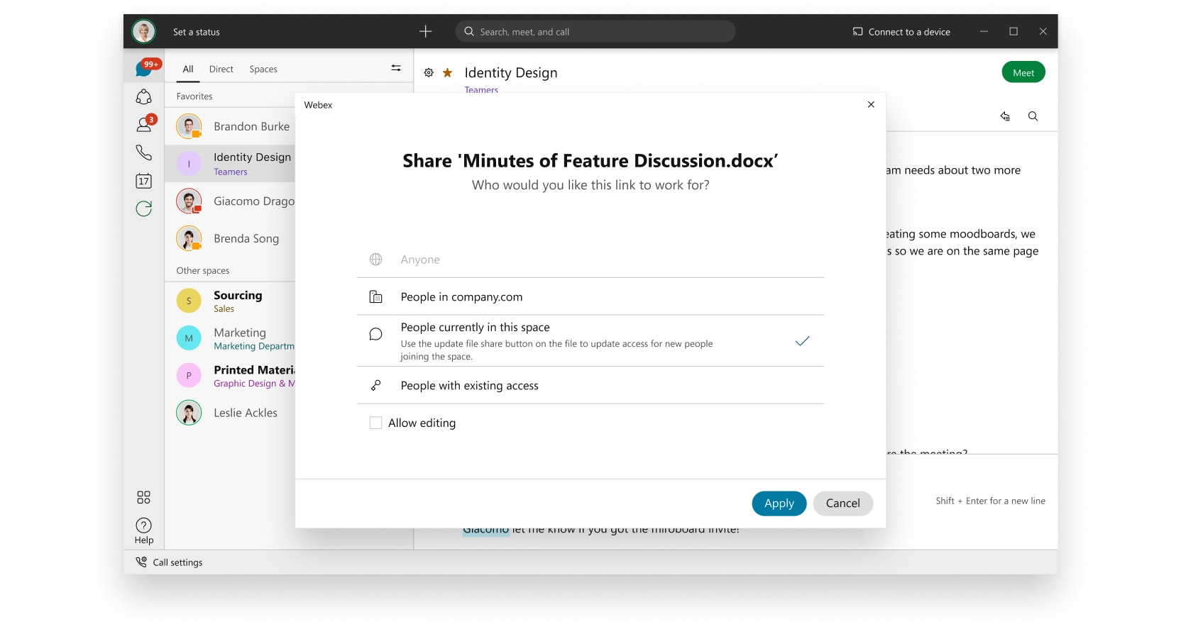Easy share pop up in Webex