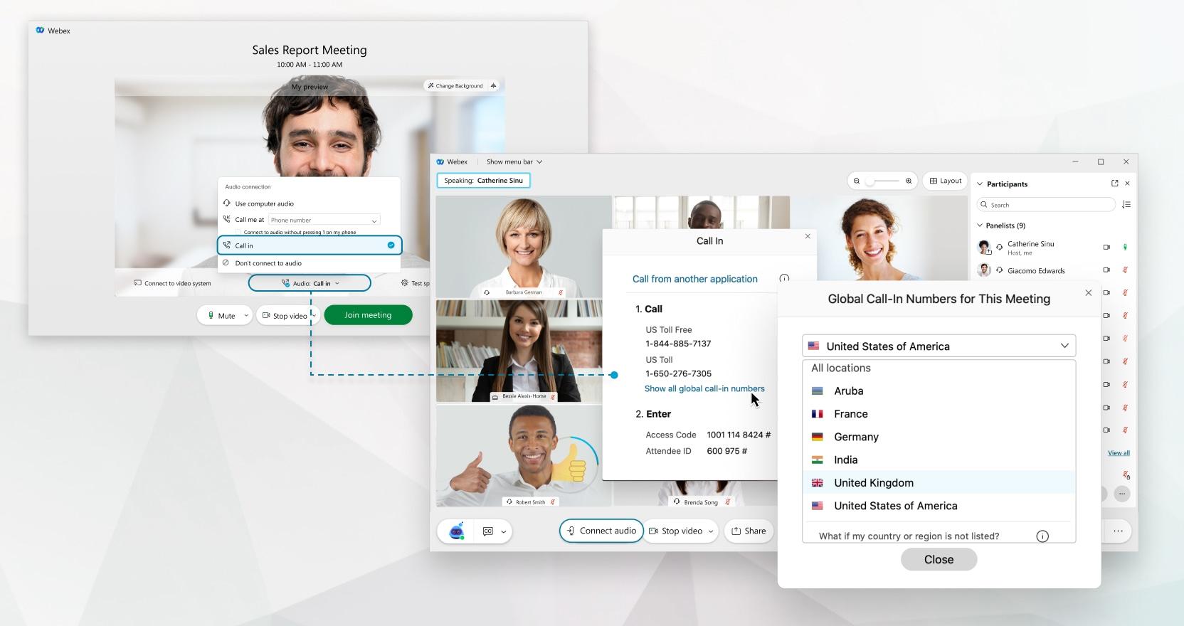 Pesquisar números de chamada de entrar global para reuniões e eventos