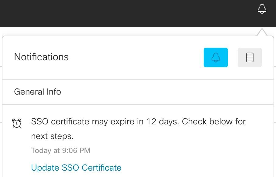 En skärmbild av meddelandepanelen i Control Hub som visar att SSO-certifikatet kommer att upphöra