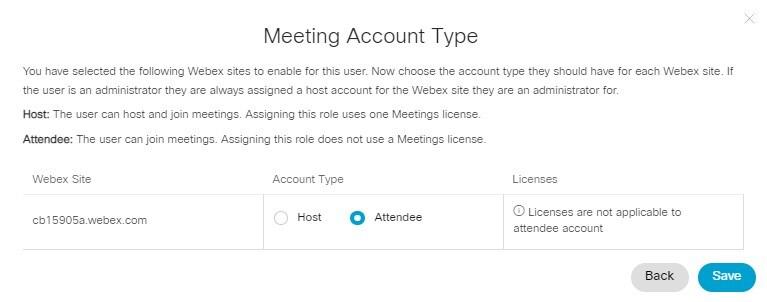 L'assistant d'attribution des licences, affichant l'option de sélection entre le rôle d'organisateur et le rôle d'invité