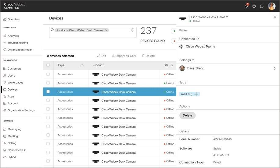 the screen capture for Cisco Control Hub