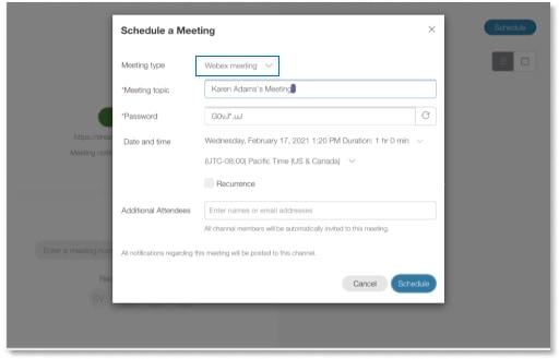 Agendando uma reunião