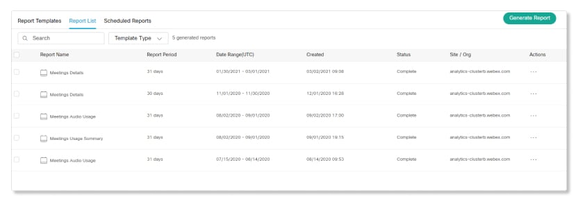 Example of completed reports in Report List