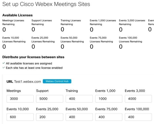 显示可向会议站点分配 Webex Events(新版)许可证的控件的屏幕截图。