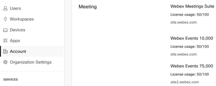 """显示""""帐户""""页面以及 Webex Events 新增许可证配额和使用量的 Control Hub 屏幕截图。"""