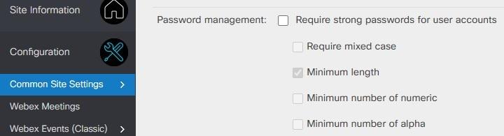 必須パスワード特徴の変更の管理を示すサイト管理のスクリーンショット