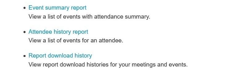 para generar informes para Webex Events (nuevos).