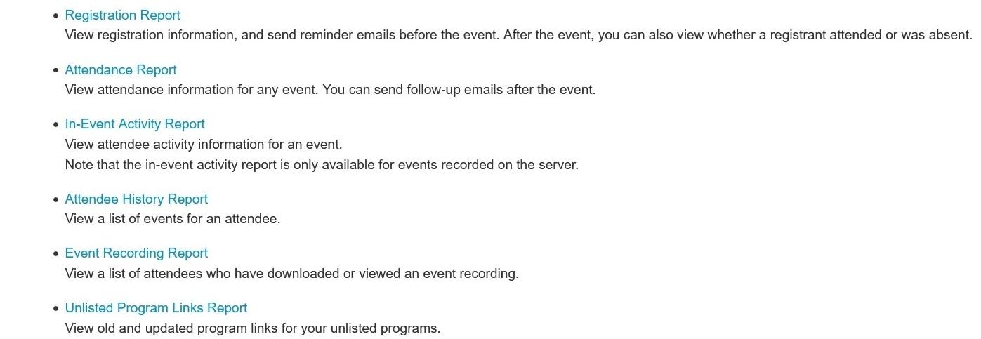 para generar informes para Webex Events (clásico).