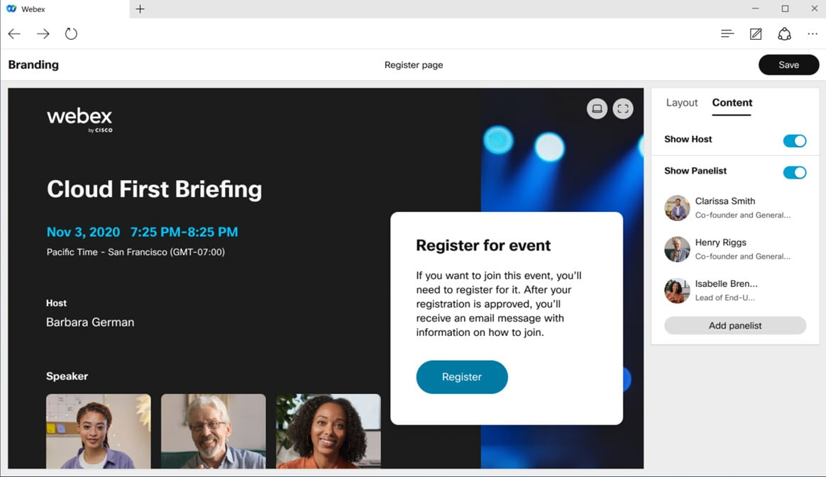 Webex branded events