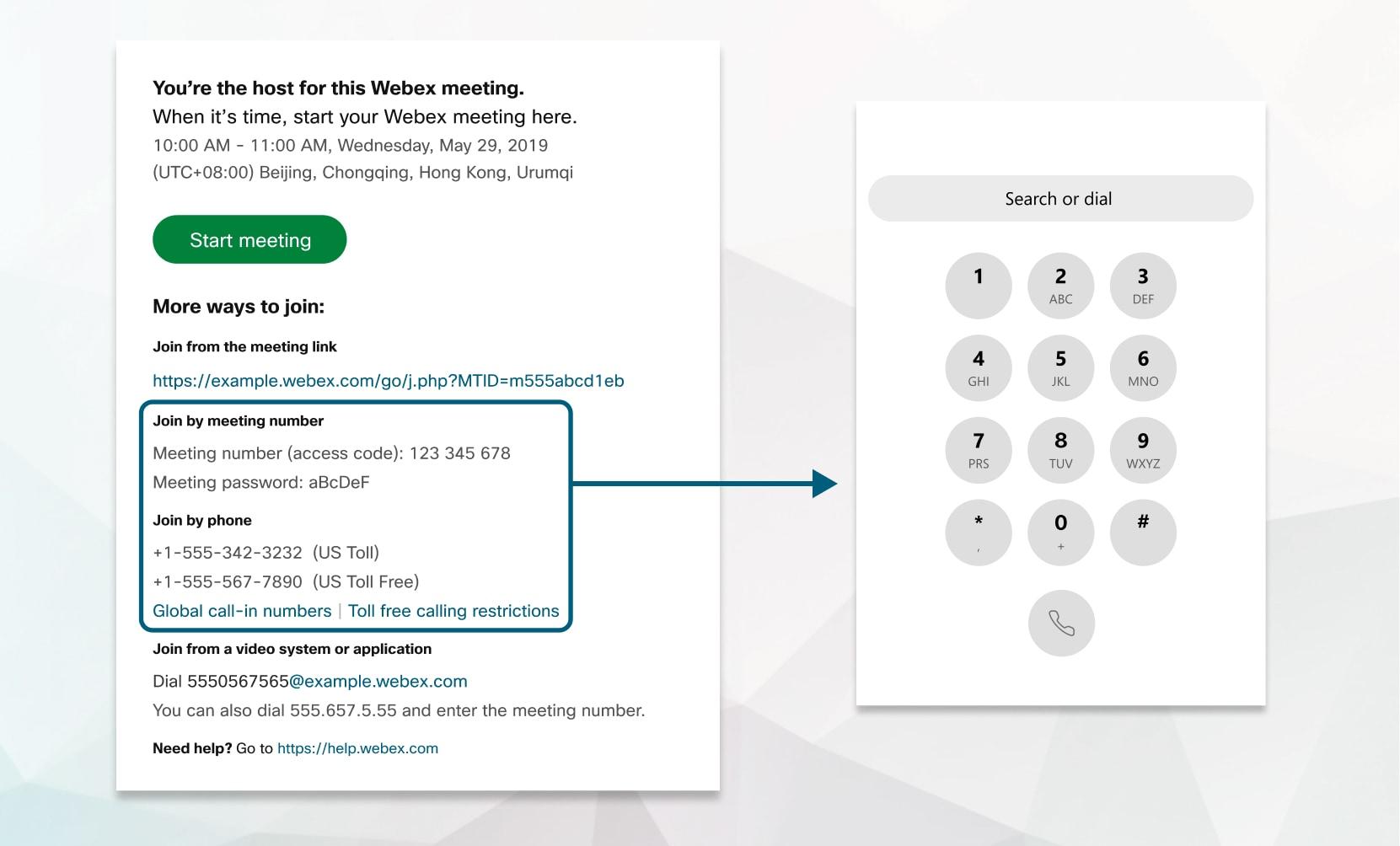 Începeți întâlnirea programată prin telefon