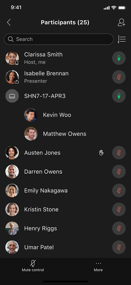 Ulepszone ikony audio na liście uczestników