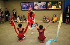 Dancers from both the National Dance Institute and the Shanghai Children's palace perform for Jacques d'Amboise