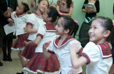 Classmates in Shanghai break out into dance when they are reminded of their performance at the Cisco Pavilion last month