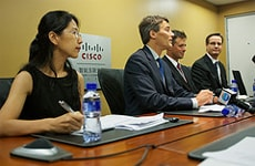 Vancouver Mayor Gregor Robertson answers press questions at a roundtable held at the Cisco Pavilion.