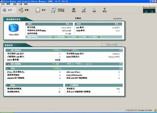 Cisco SDM 主页