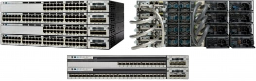 �} 1 Cisco Catalyst 3750-X �V���[�Y �X�C�b�`�i�O�ʂƔw�ʁj
