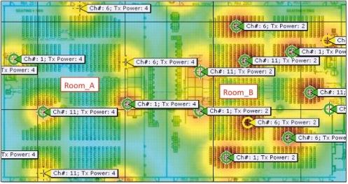 図 15 2 部屋の高密度 WLAN