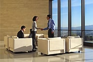 Man and women shaking hands at a company lounge area