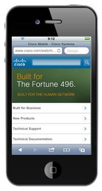 Apple iPhone showing m.cisco.com and search enhancement